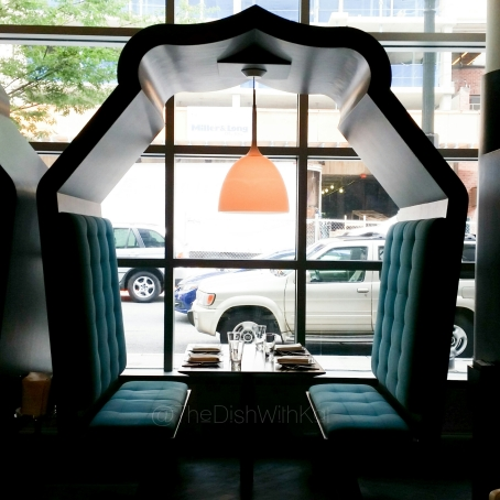 The semi-private booths are perfect for date night and offer a view of the bustling New Hampshire Avenue.