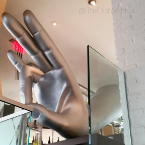 The giant hand over the bar was one of my favorite pieces of art in the restaurant.