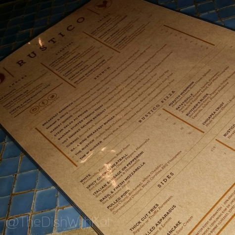 Rustico's brunch menu includes a variety of breakfast and lunch offerings.