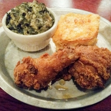 Quarter Fried Chicken, Creamed Collard Greens & Pimento Mac & Cheese