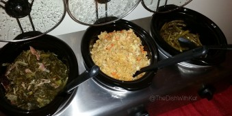 Left to right: Collard Greens, Fried Rice, and Hot & Spicy Green Beans