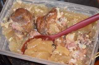 Allow to completely cool, then skim the solid layer of fat of the ham hocks before cooking with them.