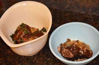 Allow the ham hocks to cool completely in a bowl.